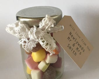 10 x Mini Sweet Jars for Wedding Favours / Parties / Baby Showers