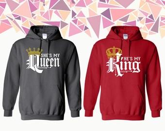 She's My Queen He's My King Sweatshirt King King Queen Hoodie King Queen Couple Hoodie Couple Hoded Sweatshirt Couple Sweater Gift ForCouple