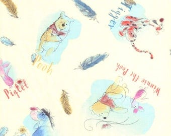 Pooh, Eeyore, Tigger, Piglet & Feathers Characters on Cream Disney Fabric - FQ