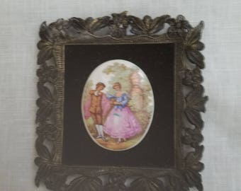 Porcelain Italian Cameo Portrait on Velvet