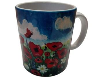 Field of Poppy Flowers (Original from Canvas Art) - 11 oz. Coffee Mug