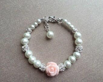 Baby girl jewelry, baby bracelet, baby pearl bracelet, flower girl bracelet, baptism bracelet, christening bracelet, bridesmaid bracelet