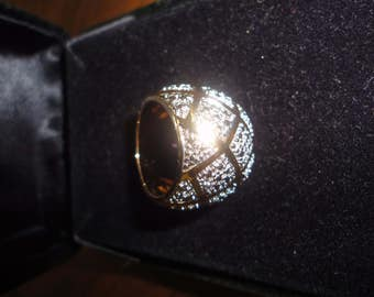 beautiful vintage ring sterling silver 925 gold tone with silver tone size 6 to 7