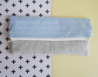 Two Toned Folding Zipper Pouch, Blue Clutch Bag, Fold Over Bag