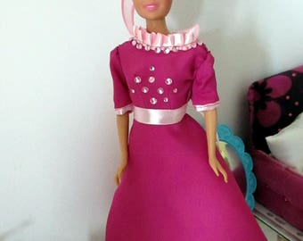Dress for Barbie pink with glitter