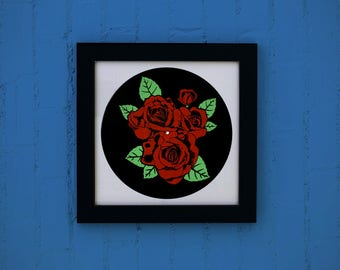 Vinyl silkscreen Roses / / poster flowers music