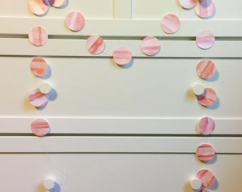 Pink and orange confetti garland, Paper garland, Hand painted garland, Wall decorations, Watercolor wall decorations