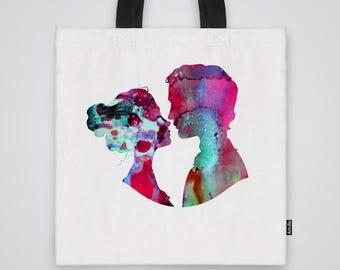 A kiss Tote Bag Shoulder Bag Market Bag Art Print