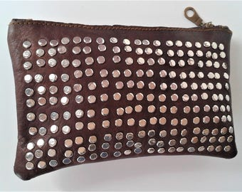 Boho Chic Evening Clutch Purse, Genuine Organic Leather Studded Purse, Zipped Purse, Make-up Bag, Tobacco Pouch