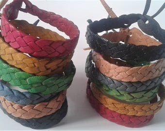 Friendship Bracelet, Genuine Leather, Plaited Bracelet, Anklet, Tie Fasten Bracelet/Anklet, Beach Bum, Surfer Style
