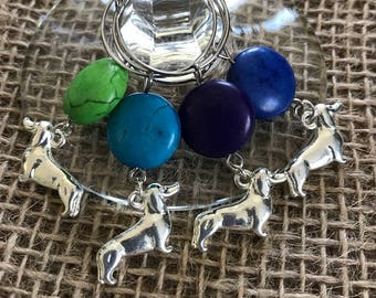 Dachshund wine glass charms