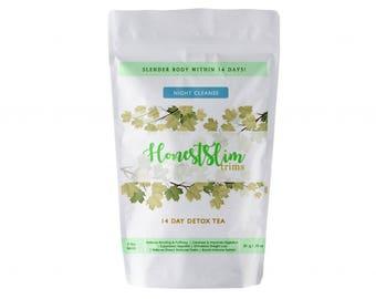 Honestslim 14 Day Detox Tea- Night Cleanse Tea 100% Organic Weight Loss, Reduce Bloating, Boost Immune System, Improve Digestion.