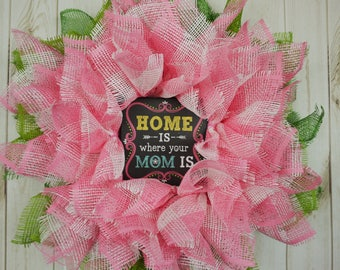 Free Shipping, All Occasions, Mother's Day Wreath, Pink Flower Wreath, Summer Wreath, Spring Wreath, Gift for her