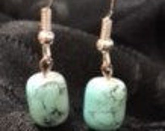Fun Glass Bead Turquoise Colored Earring