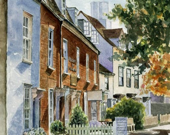 """Custom house or building portrait painting in watercolour 8"""" x 12"""""""
