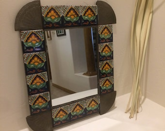 Spanish Colonial Style Punched Tin Mirror with Talavera Tile Border, Handmade