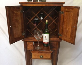 The Modern Cellarette Unique Wine Cabinet for Wine Enthusiasts.  Space Saving Hardwood Wine Storage Cabinet with Doors/Drawer/Wine