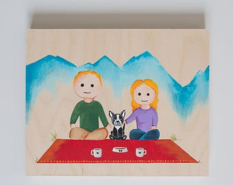 Custom Hand Painted Picnic Portrait with Dog