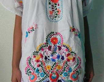 Mexican White Dress Handmade Embroidered