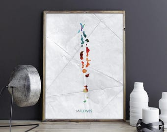 Maldives Art Maldives Wall Art Maldives Wall Decor Maldives Photo Maldives Print Maldives Poster Maldives Map Country Map Watercolor Map