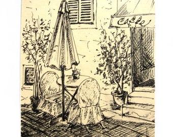 Original artwork, Painting ink, Cafe in Porech, Croatia, original drawing, miniature, graphics, original Painting