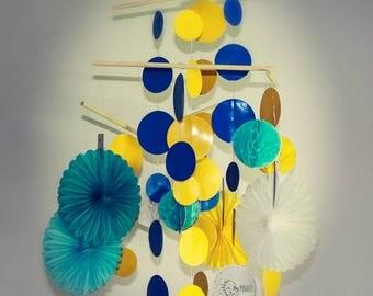 Baby Mobile: Blue, Yellow, Aqua & White