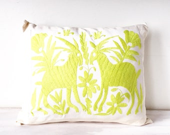 Lime Green Otomi Pillow / Otomi Cushion / Otomi Pillow Cover / Mexican Pillow Cover / Otomi Throw Pillow / Mexican Embroidered Pillow