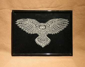Engraving of a Celtic OWL on transparent glass