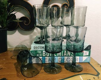 Vintage Set of 8 Smokey Gray Stemmed Wine Glasses, Midcentury Modern Charcoal Stemware