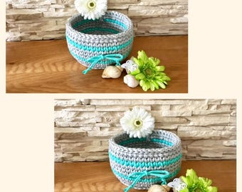 Grey and Green Storage Basket Crochet