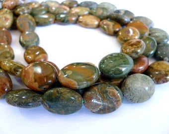 Genuine Green Marble Agate Gems/ OVAL Flat Marble Agate of 12x16x7_hole 1 mm_Strand 25 bead