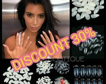 Press On Nails, 600PCS Stiletto Pointed Acrylic Nails Oval Short, Artificial nail tips, Plastic full false, Kardashian nail, fake nails
