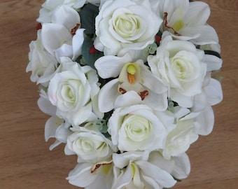 Shower Bridal Bouquet,Wedding Flowers,Shower Bouquet, Bridal Wedding Bouquet,Rose and Orchid bouquet,Silk Wedding flowers,Teardrop Bouquet.