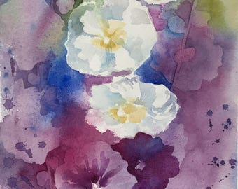 "Original watercolor painting ""Hollyhocks"" floral purple blue green"