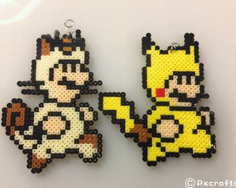 Mario necklace-geeky jewelry/8bit jewelry/gamer jewelry/mario luigi accessories/geeky earrings/nintendo/saga/perlerbeads/luigi