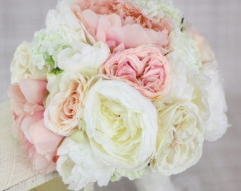 Silk Bride Bouquet Peony Peonies Roses Ranunculus Country Wedding Lace (Item Number 130112)
