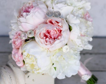 Silk Bride Bouquet Peony Peonies Shabby Chic Diamond Accents Wedding