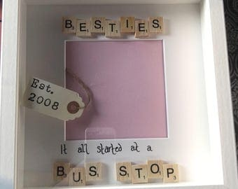 Hand decorated Best friends box frame
