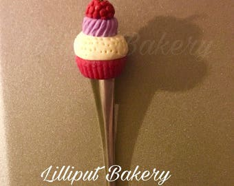 Dessert spoon/latte spoon with handmade cupcake topper