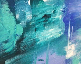 Abstract turquoise painting original