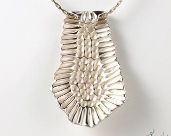 "Pendant in Sterling Silver ""Seaweed PE3"" height 55mm - by IrisBiu. Jewelry handmade in France."