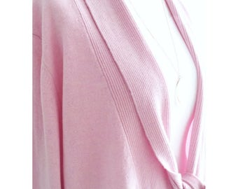 100% Pure Handmade Luxury Cashmere long line Cardigan in parfait pink