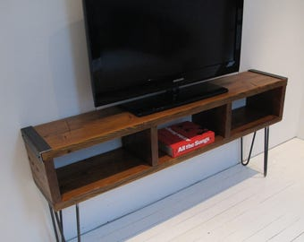 """Media Console, TV Stand with Reclaimed Wood,Industrial Wood Media Console, 60"""" Media Console with Hairpin Legs"""
