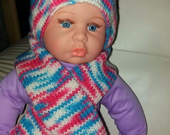 Hand knitted scarf and hat set  12/18 months
