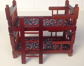 Dollhouse stackable wooden bunk beds