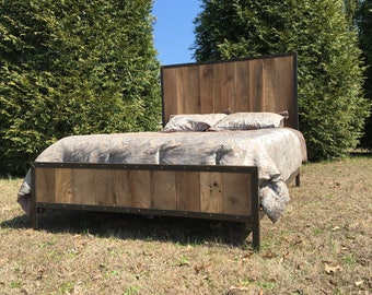 Industrial barnwood and metal queen bed