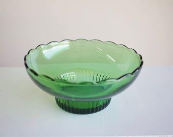 Vintage Scalloped Green Bowl
