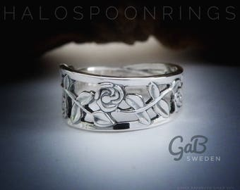 Very Pretty and Unique Ladies Swedish Silver Trailing Rose Spoon Ring by Gab Sweden hallmarked 830s.