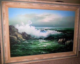 Original framed painting seascape with waves and rocks large