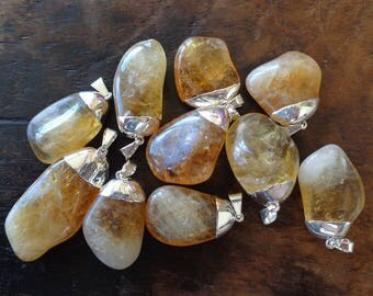 Whosale Tumbled Citrine Pendant Silver Plated